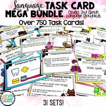Language Task Cards Mega Bundle for Second Grade (Common Core Aligned)
