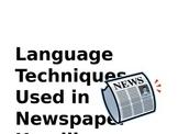 Language Techniques in Newspaper Headlines