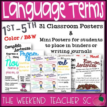 Language Terms Posters and Mini Posters  GROWING SET
