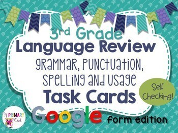 Language Test Prep DIGITAL Task Cards GOOGLE FORMS edition