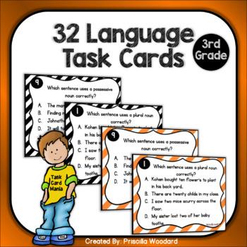 3rd Grade Language Task Cards Test Prep