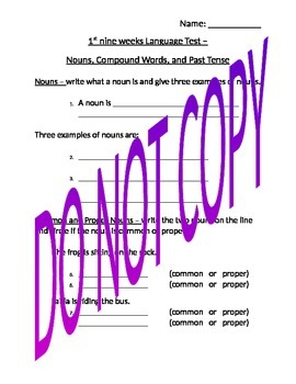Language Test - common and proper nouns, compound words, and past tense