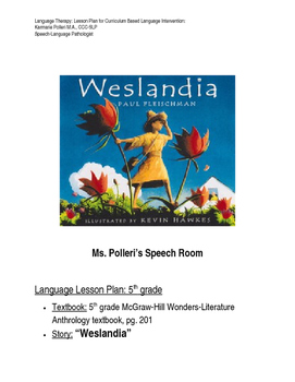 Language Therapy: 5th grade Curriculum Based Lesson Plan