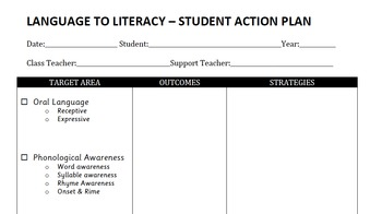 Language To Literacy Profile Sheet