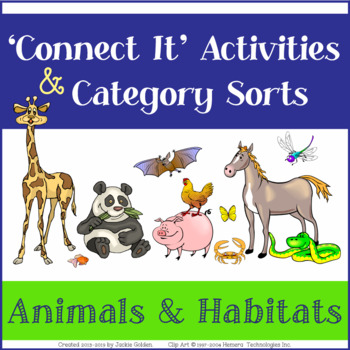 "Language Vocab Activities: Category Sorts & ""Connect It"" Wheels- Animal Habitats"