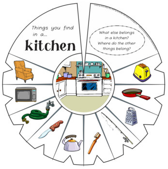 "Language Vocab Activities: Category Sorts & ""Connect It"" Wheels- Around the Home"