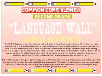 Language Wall for 2nd Grade- Common Core Aligned