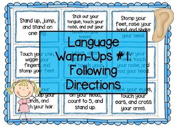 Language Warm-Ups #1: Following Directions for Speech/Language Therapy