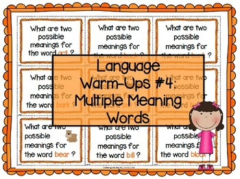 Language Warm-Ups #4: Multiple Meaning Words / Homophones Speech Therapy
