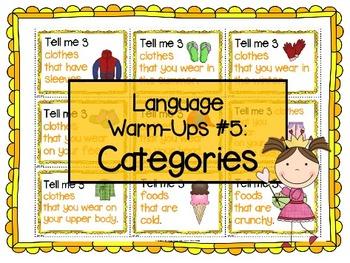 Language Warm-Ups #5: Categories for Speech/Language Therapy / ESL