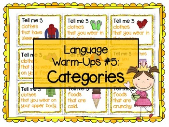Language Warm-Ups #5: Categories for Speech/Language Thera