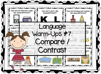 Language Warm-Ups #7: Comparing/Contrasting for Speech/Language Therapy / ESL