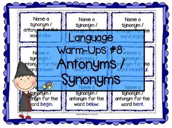 Language Warm-Ups #8: Antonyms/Synonyms for Speech/Language Therapy / ESL