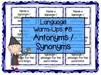 Language Warm-Ups #8: Antonyms/Synonyms for Speech/Languag