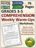 Reading Comprehension Weekly Warm-ups Print and Digital Versions