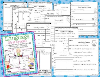 Language Worksheets/Activities - First Grade Common Core