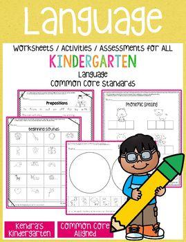Language Worksheets / Activities for Kindergarten Common Core