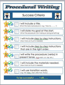 Language Writing A Procedure , (Instructions, Recipes) Step by Step Text