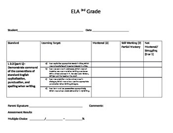 Language Writing Reading Foundation Standard Sheets for Student Data Notebooks