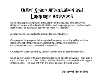 Language and Articulation Activities in Outer Space!