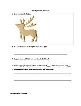 """Language and Fine Motor Activities for """"The Night Before Christmas"""""""
