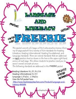 Language and Literacy FREEBIE