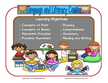 Language and Literacy Learning Center Sign~ With Objectives