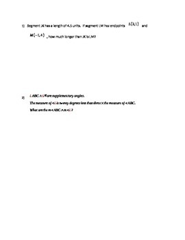 Language and Tools of Geometry Test Editable