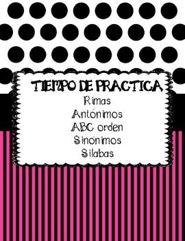 Language arts Practice Time in Spanish