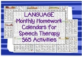 Language daily Homework Practice calendars speech therapy