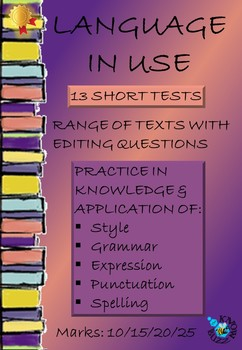 Language in context  - 13 short textual editing grammar tests