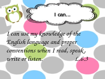 Language mechanics common core I can posters