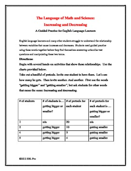"""Language of Math and Science: Teaching """"Increase"""" and """"Decrease"""" to ELLs"""