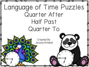 Language of Time Puzzles - Quarter After, Half Past, Quarter To