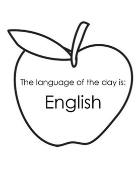 Language of the day sign (Spanish and English)