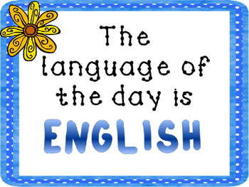 Language of the day signs and helper badge