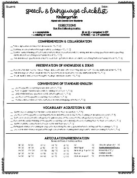 Language skills Checklists (Common Core) Bundle (K-5)