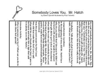 Language through Literacy based on Somebody Loves You, Mr. Hatch