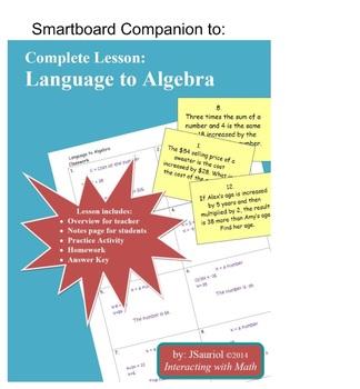 Language to Algebra Smartboard companion