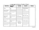 Language to Literacy Student Activity Sheet