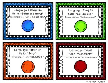 Languages of the World Attendance Cards