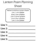 Lantern Poem Planning Sheets