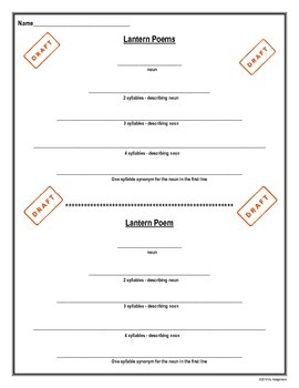 Poetry Writing - Lantern Poem Student Hand-Out
