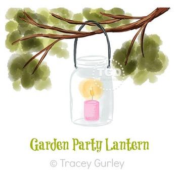 Lantern in Tree Branch - Wedding, Garden, lantern clip art Tracey Gurley Designs