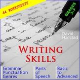 Language Skills: 44 Printable Writing, Grammar, Editing Worksheets (Gr. 3-7)