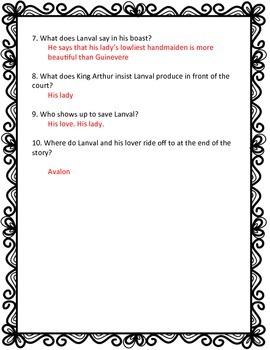 Lanval Reading Quiz