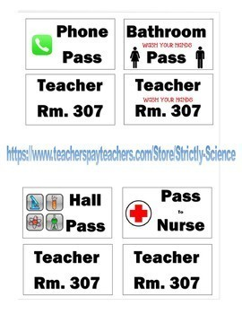 Lanyard Hall Pass Labels (Science, Math, ELA, and Social Studies Designs)