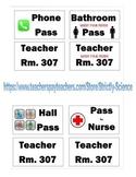 Lanyard Hall Pass Labels (Science, Math, ELA, and Social S