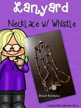 Lanyard Neckalce with Rhinestone Whistle- Black Rainbow
