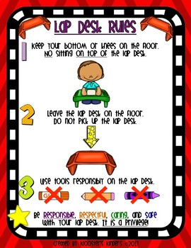 Lap Desk Rules Poster - Flexible / Alternative Seating